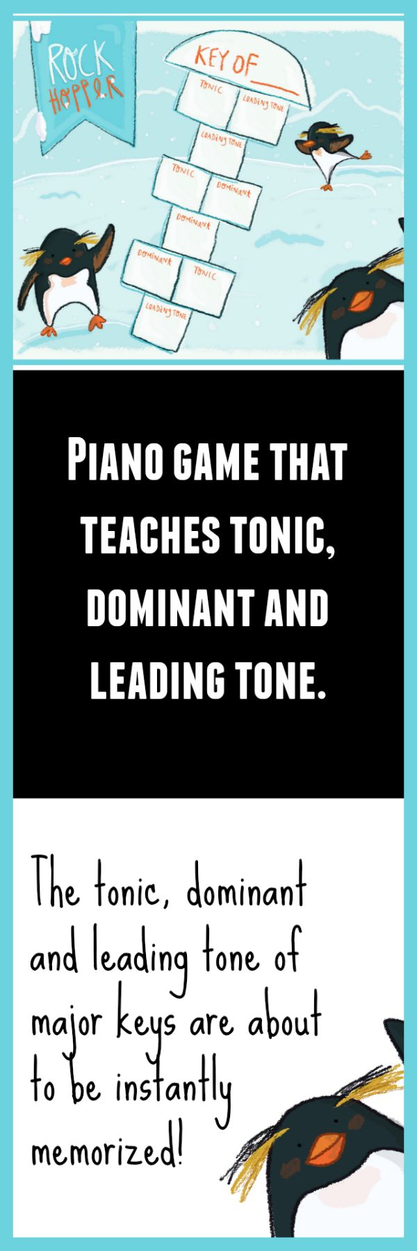 Cutest way (ever!) to teach tonic, dominant and leading tone in major keys. This piano teaching game is going to become a fast favorite in your studio. Grab it before it's gone on June 26 as a part of June's game pack for just $8! www.pianogameclub.com #pianogameclub #CoolestPianoTeacher #PenguinsTeachPiano #TheyllBegForThis