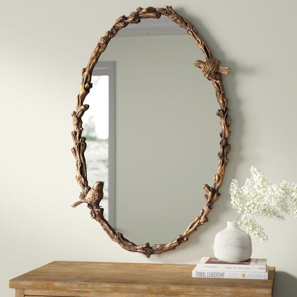 Oval Mirror In Antique Gold Leaf In 2020 Oval Mirror Gold Mirror Wall Twig Mirror