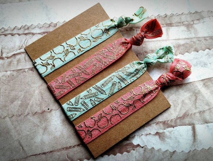 Teacher hair ties, teacher gift, teacher appreciation gift, elastic hair ties, ouchless hair ties, back to school gift, mint and coral by RoesBlossoms on Etsy