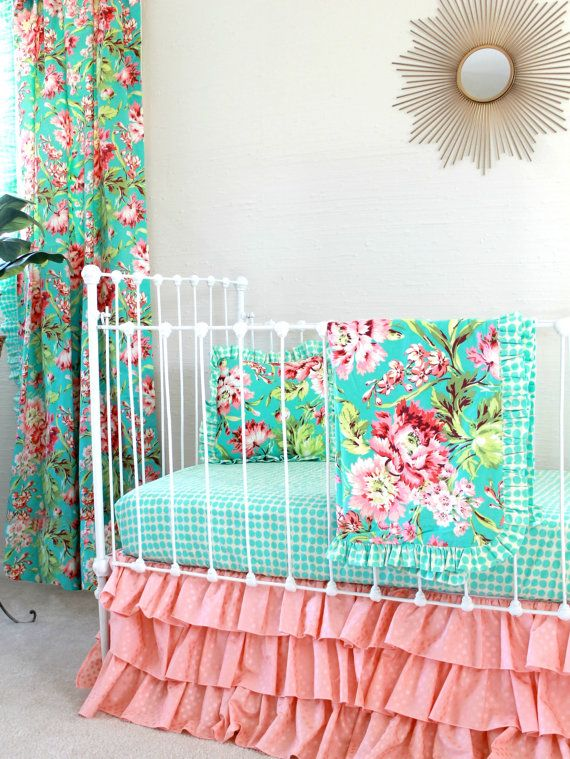 Coral And Turquoise Crib Bedding In Tropical Floral With Peach