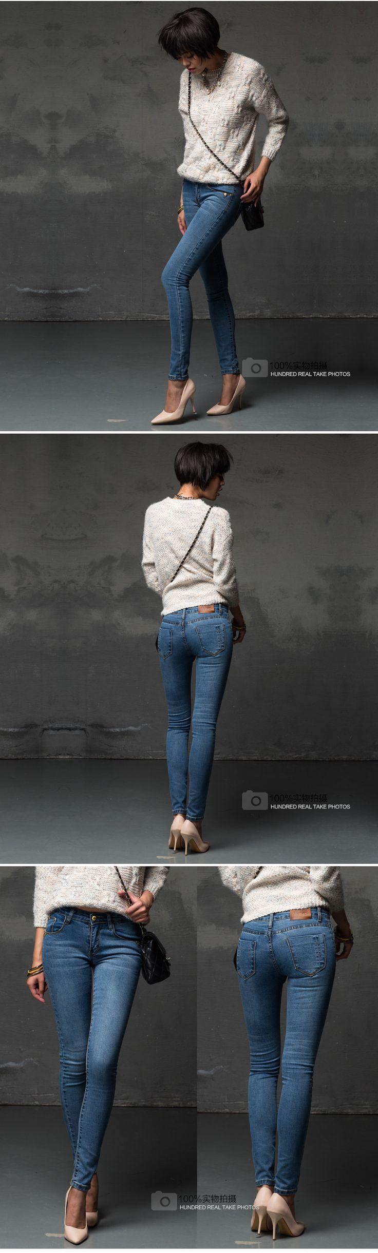 Мода высокой талией джинсы женщина брюки 2015 новый омывается узкие джинсы отбеленными брюки синий Большой размер S 4XL джинсы женщин купить на AliExpress