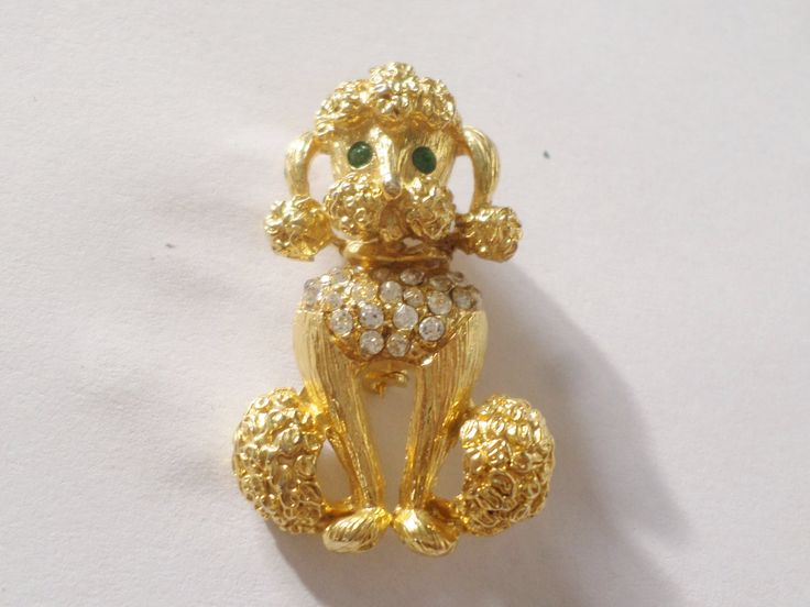 Poodle Brooch with Emerald Green Eyes and Crystal Collar Vintage Dog Pin Gold Tone by UnderTheBaobobTree on Etsy