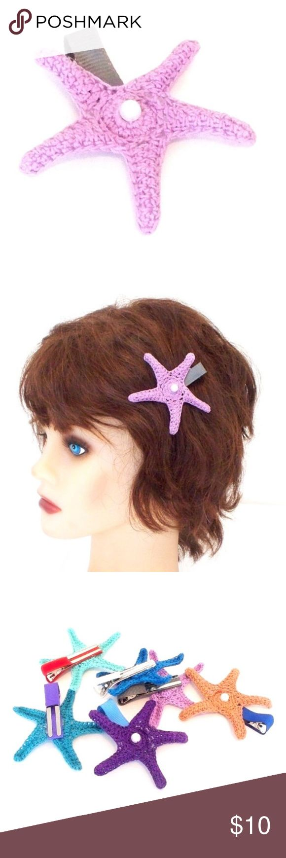 "Handmade Crochet Starfish Hair Clip Crochet Starfish Hair Clip in Lavender  Bright and colorful hair clip featuring a hand crocheted starfish on a gray 1.75"" (4.45 cm) alligator clip, topped off with a faux pearl  :) Accessories Hair Accessories"