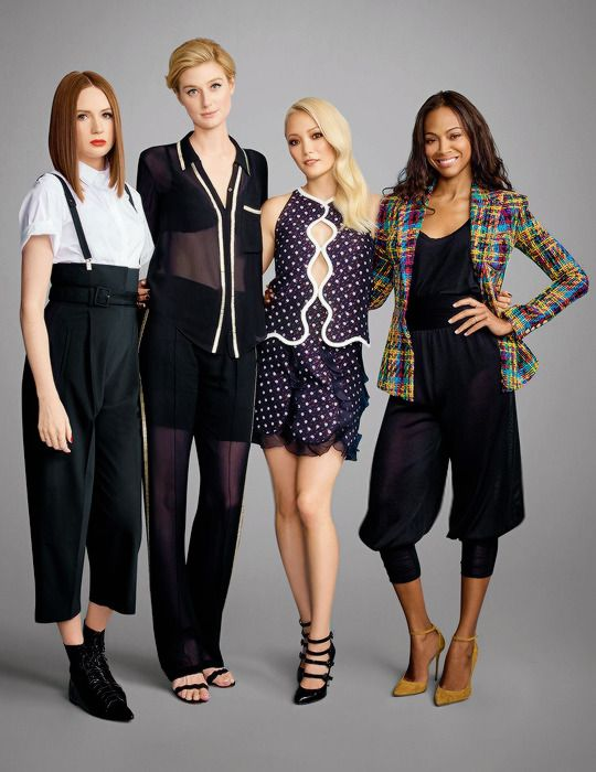 Karen Gillan with Elizabeth Debicki, Pom Klementieff, and Zoe Saldana photographed for Entertainment Weekly during SDCC 2016.