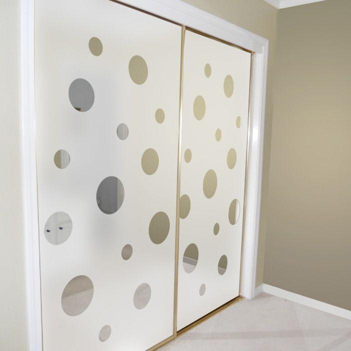 Bedroom Etched And Mirrored Sliding Closet Door Design