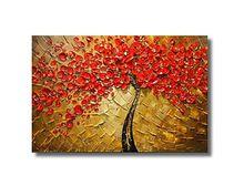 Modern Duvar için 100% El Boyalı Tuval boyama Sanat Eseri dekor Ev Dekorasyon Soyut Kırmızı Çiçek Yağlıboya sanat(China (Mainland))