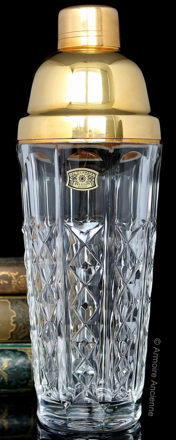 BUY ON ETSY: VAL ST. LAMBERT Cocktail Shaker and Ice Bucket Set, Lead Crystal & Gold