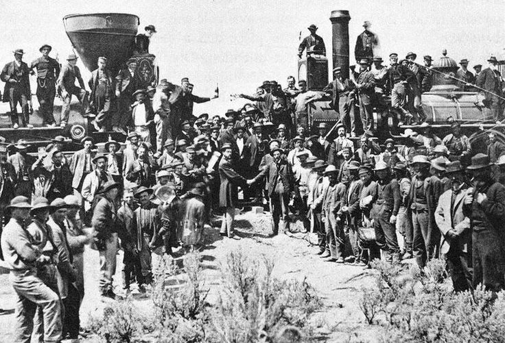 Completion of the Trans-Continental Railroad.  1869.