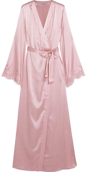 I.D. Sarrieri - Tendresse Chantilly Lace-trimmed Silk-blend Satin Robe - Pastel pink