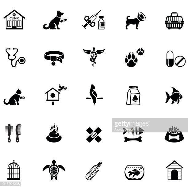 Black Veterinary Icon Set Veterinary Animal Science Icon