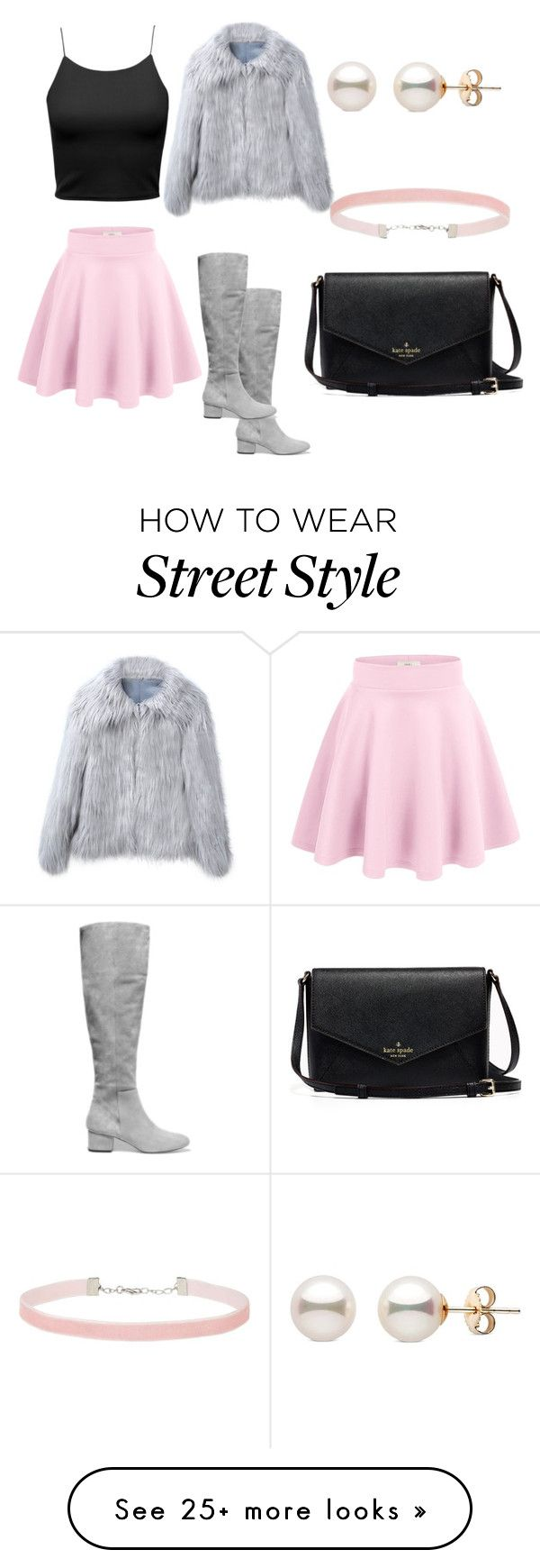 """Gray coat w/ black and pink"" by amaramariej on Polyvore featuring Halston Heritage and Miss Selfridge"