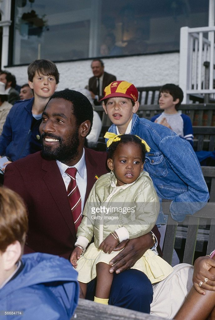 Viv Richards of the West Indies with his daughter during the Cicket World Cup 1983 held in June 1983 in England.