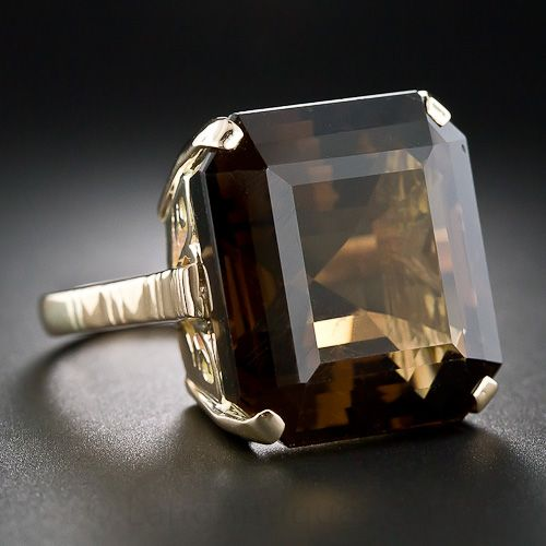 A big, almost square, smoky brown quartz (sometimes misnamed smoky topaz) glows solo from a fancifully pierced 14K yellow gold mounting - circa 1950s.