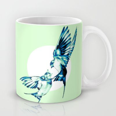 Birds Mug by Nuam - $15.00  ☀ ☀ ☀    #Bird, #Vector, #Swallow, #Spring, #Nature, #Birds, #Animal, #Animals, #Illustration, #Love, #Family, #Trust, #Feed, #Food, #Hipster, #Swallows, #Care, #Fly, #Spring, #Wings, #TwoBirds, #Romantic, #Bohemian, #Fly, #Flying #FlyingBird, #FlyingBirds #Decorative #homedecor #mug #tea #mint #teacup #office #drink