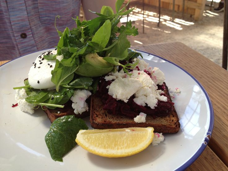 Poached egg, avo, beetroot relish, soft goats cheese & micro herbs, all on GF bread @ Farm Cafe - Collingwood. So delicious! And fodmap friendly.