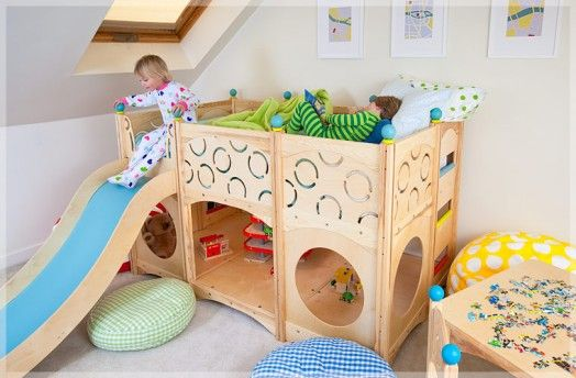 Now THIS is an amazing bunk bed/play area in one.