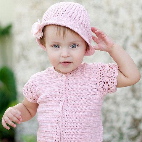Baby girl crochet romper suit with matching hat – ukookoo