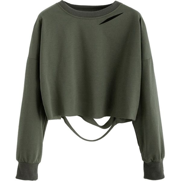 Dark Green Drop Shoulder Cut Out Crop T-shirt ($8.99) ❤ liked on Polyvore featuring tops, green, cut out crop top, stretch top, round neck crop top, dark green crop top and long sleeve tops