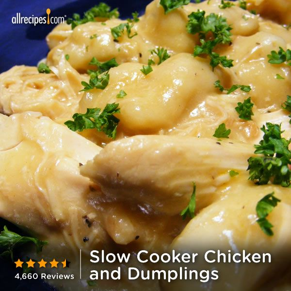 """Just five ingredients are needed for this Slow Cooker Chicken and Dumplings recipe. """"Like"""" if there's a special place in your heart for dumplings. http://allrecipes.com/video/955/slow-cooker-chicken-and-dumplings/detail.aspx?lnkid=7171"""