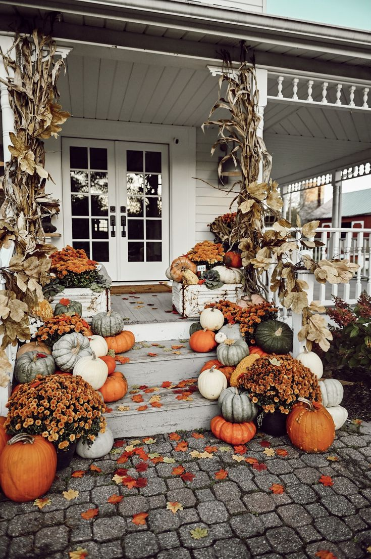 Colorful Farmhouse Fall Porch Steps – Liz Marie Blog