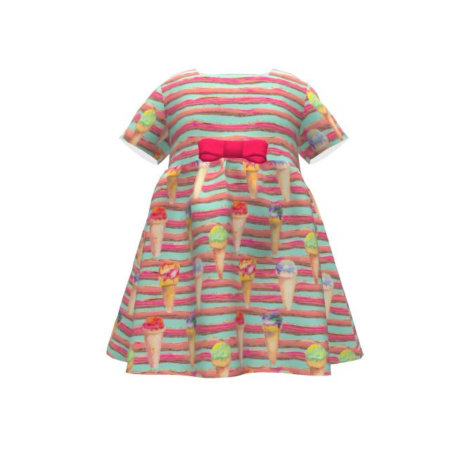 Puperita Hula Hoop Dress made with Spoonflower designs on Sprout Patterns. Watercolor painted ice cream cones on a striped aqua mint background. Fresh and yummi!