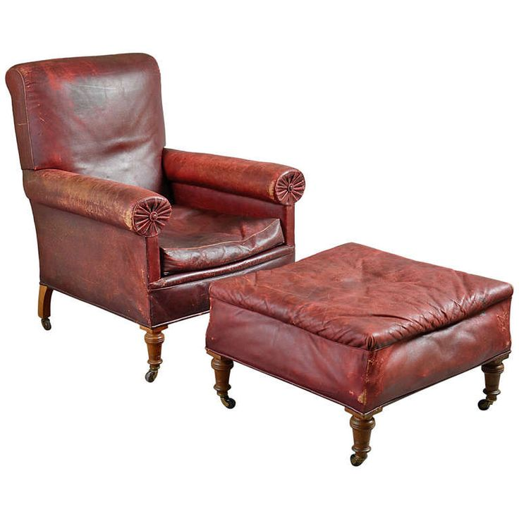 Victorian Red Leather Chair And Stool