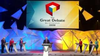The biggest live debate of the UK's EU referendum campaign is under way at Wembley Arena. Big names on both sides of the debate are fielding questions before an audience of 6,000. The BBC's Great Debate represents a final chance for the two sides to get their points across on primetime TV before polls open on Thursday. Panellists include Boris Johnson, for Leave, and his successor as London Mayor Sadiq Khan, for Remain. The debate, hosted by David Dimbleby, Mish