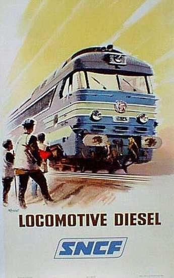 DP Vintage Posters - France Original Vintage Travel Poster SNCF Locomotive disel