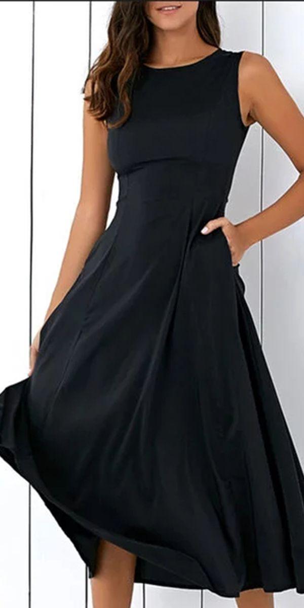 $22.99 SALE Black A-line Women Sleeveless Pockets Solid Summer Dress