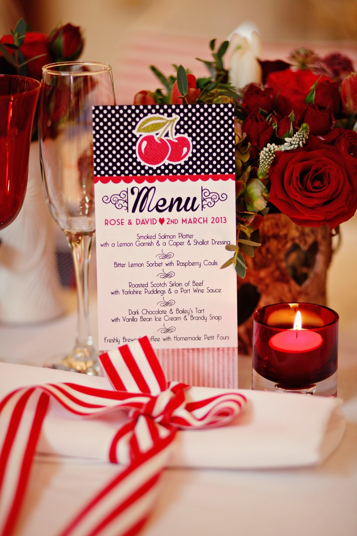 Wide Striped Ribbon for napkins hangs over tables for decadent fun look!