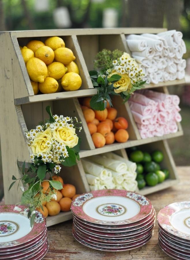 shelves used as napkin/place settings for spring  brunch...