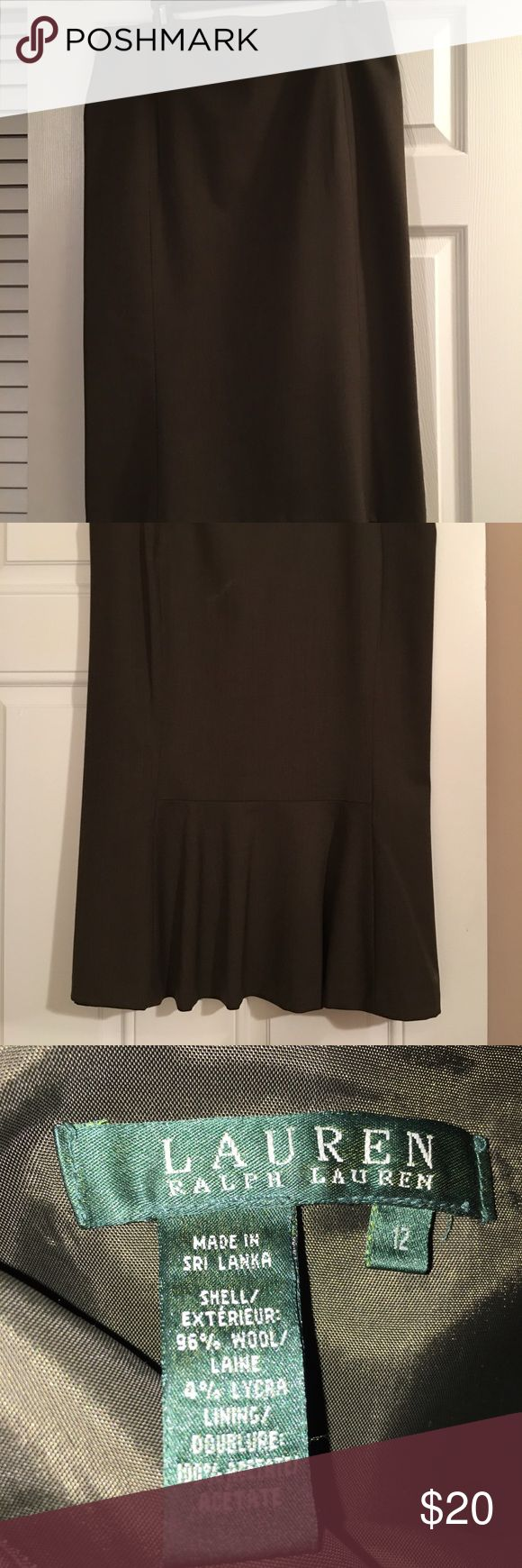 Ralph Lauren Olive Green Vintage Skirt Notice this vintage style skirt which is 29 inches long with great detail on the back. The exterior is 96% wool and 4% Lycra.  The lining is acetate.  Stylish and classy. Ralph Lauren Skirts Pencil