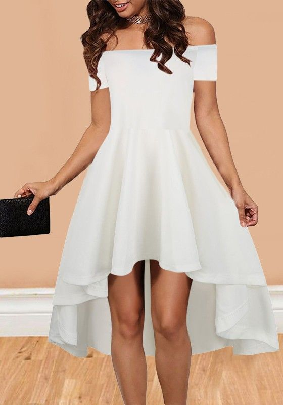 4e9bd9ca1fc4 White Irregular Draped Swallowtail Off Shoulder High-low Homecoming  Valentine s Day Party Midi Dress