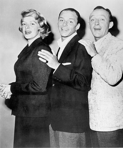 Rosemary Clooney, Frank Sinatra, and Bing Crosby during rehearsal for The Edsel Show, 1957