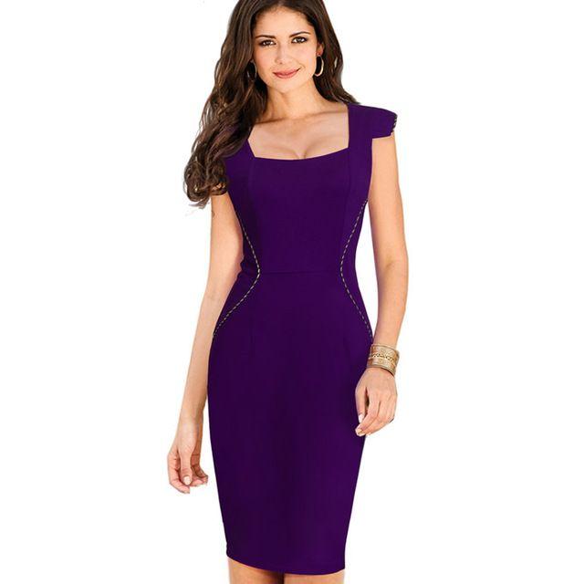 Mulheres Elegante Gola Quadrada Do Vintage Bodycon Escritório de Negócios Vestir Para Trabalhar Bainha Roxo Vestidos Casuais Vestido de Verão B312