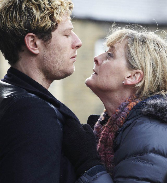 Still of Sarah Lancashire and James Norton in Happy Valley (2014), a British police procedural mini-series about a 49 yo police officer and grandmother, currently streaming on Netflix...