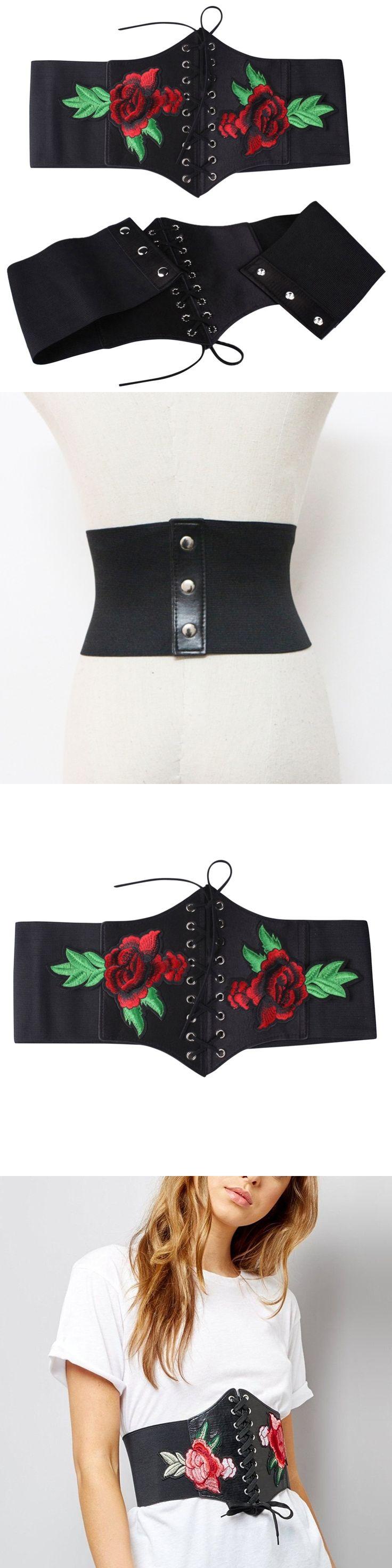 Lace Up  elastic bandage Belts Fashion Wide Adjustable Belts For Women 2017 Sexy Embroidery Casual Ceinture Femme Belt Black