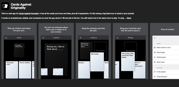 "Well now there is an unofficial app for the game, cleverly titled ""Cards Against Originality,"" which the designer has described as a ""shameless copy of the real Cards Against Humanity."" 