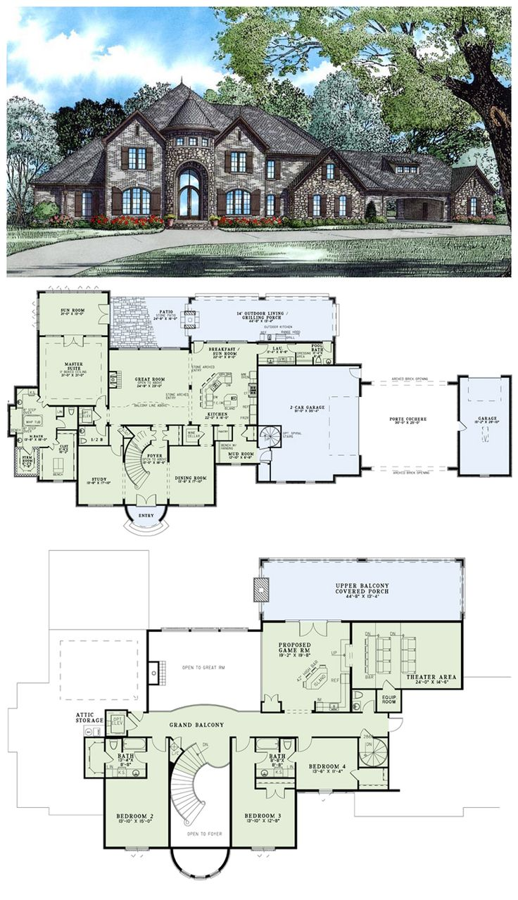 #HousePlan 82177 was added to our collection on 10/30/2013. This #European design features a castle like entrance with a tall stone arch. A grand curved staircase greets you in the vaulted foyer, with a formal dining room to the right and a study to the left. The Great Room features a fireplace and two stone arched entries. The massive kitchen offers a large eat-at island bar, a prep island and a walk-in pantry.
