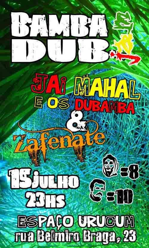 """Bamba Dub Jam Jai Mahal comanda o evento quinzenal no Espaço Urucum, tocando com a sua banda e convidando novas e consagradas bandas do cenário Reggae brasileiro. Jai Mahal e os DuBamba abrem o evento e, nessa semana, a banda convidada é a Zafenate, da qual faz parte Theodoro, o filho de Nando Reis. Eles...<br /><a class=""""more-link"""" href=""""https://catracalivre.com.br/geral/agenda/barato/bamba-dub-jam/"""">Continue lendo »</a>"""