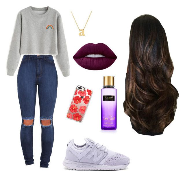 """Sin título #174"" by heyitsandsallt on Polyvore featuring moda, New Balance, Casetify, Victoria's Secret, Jane Basch y Lime Crime"