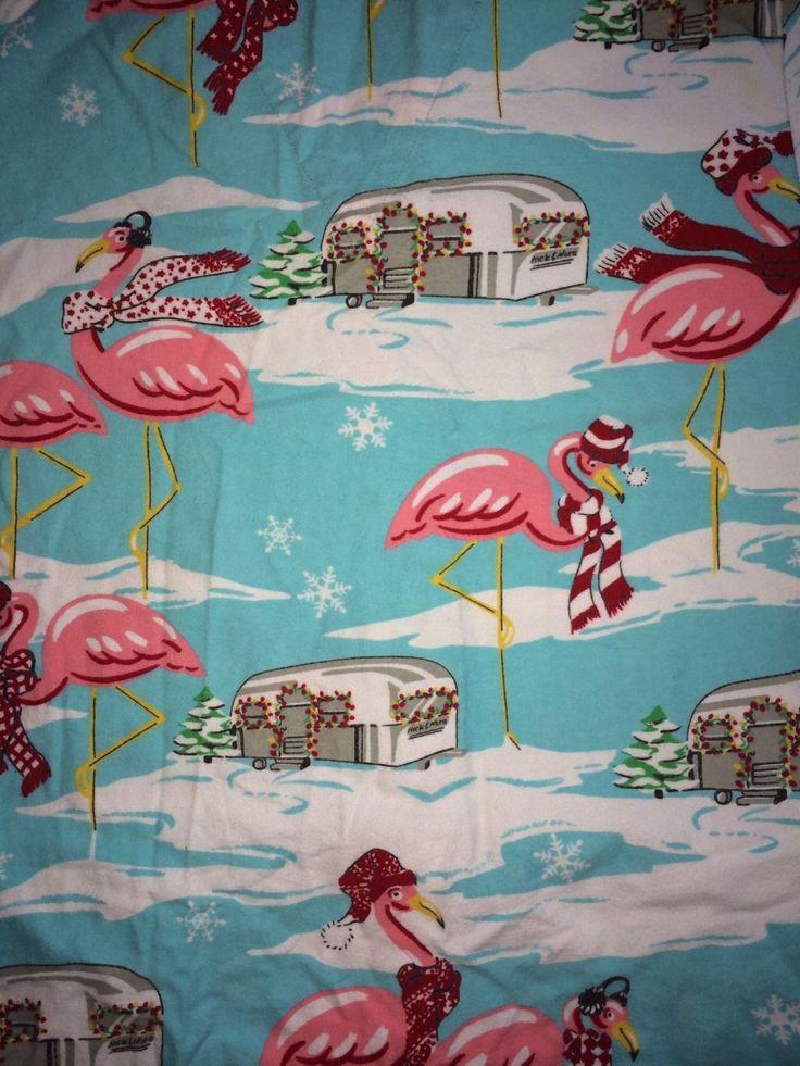 Nick and Nora PJ Pajama Set Flamingo on Ice Airstream Trailer Flannel M | eBay