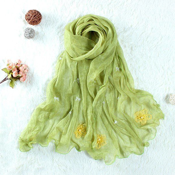 $13.65 Women National Style Chiffon Scarf Yellow Flowers Embroidery Long Shawl Scarves online - NewChic