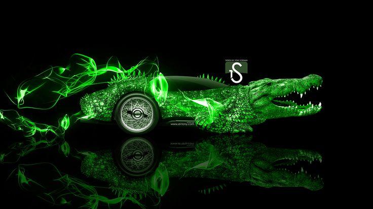 Fantasy Crocodile Car 2014 Green Neon HD Wallpapers