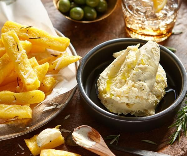 Polenta chips with rosemary, feta and garlic dip