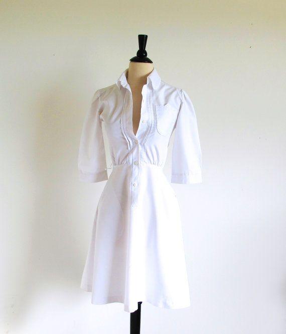 White 50s Uniform Vintage Nurses Uniform 1950 by StraylightVintage, $68.00