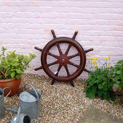 19th Century Mahogany and inlaid Brass Original ships wheel
