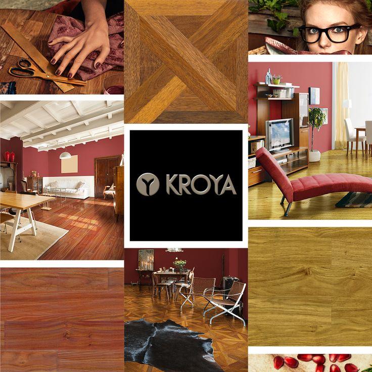 KROYA Floors welcome new moodboard with the trendy Marsala theme with KROYA Red Linggua floors, KROYA Yellow Linggua, and KROYA Merbau London Design Parquet. See more on www.kroyafloors.com