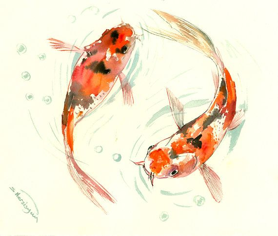 Two Goldfish, Two Koi, original orange  black yellow watercolor Asian style painting, Zen Brush painting, feng shui