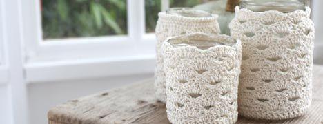 Crochet Pattern - Jar cosy, great for organizing stuff in my bathroom